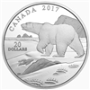2017 $20 Natures Impressions: Polar Bear - Pure Silver Coin