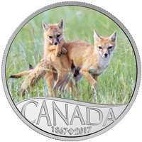 2017 $10 Fine Silver Coin - Celebrating Canada's 150th: Wild Swift Fox and Pups (Saskatchewan)