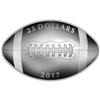 2017 $25 Football-Shaped Curved Pure Silver Coin