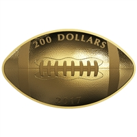 2017 $200 Football-Shaped and Curved - Pure Gold Coin
