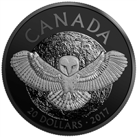 2017 $20 Nocturnal by Nature: The Barn Owl - Rhodium Plated Pure Silver Coin