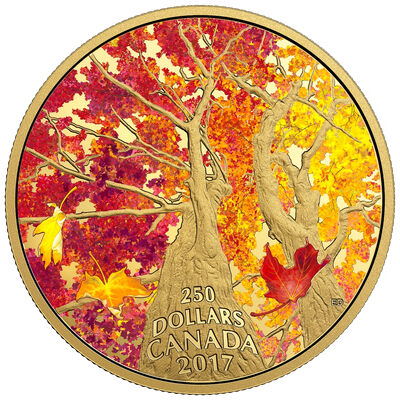 2017 $250 Maple Canopy: Kaleidoscope of Colour - Pure Gold Coin
