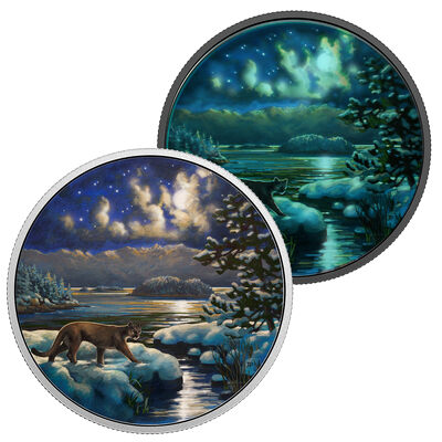2017 $30 Animals in the Moonlight: Cougar - Pure Silver Coin