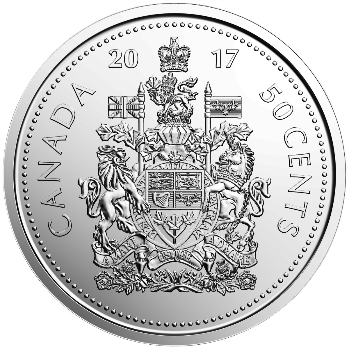 2017 50c coat of arms and canada 150 special wrap rolls 2 pack
