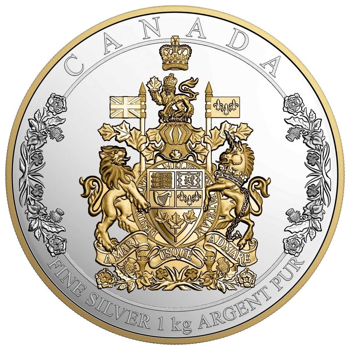 250 the arms of canada pure gold coin