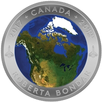 2017 $25 A View of Canada From Space - Pure Silver Convex Coin