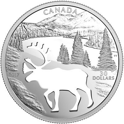 2017 $30 Endangered Animal Cutout: Woodland Caribou - Pure Silver Coin