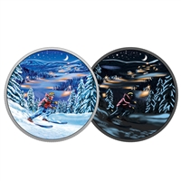 2017 $15 Great Canadian Outdoors: Night Skiing - Pure Silver Glow-in-the-Dark Coin