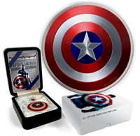 2016 $2 Captain America Shield, 75th Anniversary - Pure Silver Convex Coin