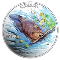 2017 $10 Iconic Canada: The Beaver - Pure Silver Coloured Coin