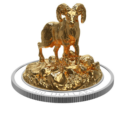 2017 $100 Sculpture of Majestic Canadian Animals: Bighorn Sheep- Pure Silver Coin