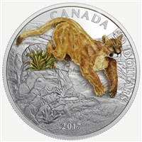 2017 $20 Leaping Cougar - Pure Silver 3D Coloured Coin