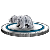 2018 $50 Soapstone Sculpture: Polar Bear - Pure Silver Coin