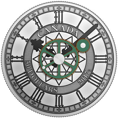 2017 $50 Peace Tower Clock, 90th Anniversary - Pure Silver Coin