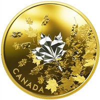 2017 $50 Whispering Maple Leaves - 3 oz. Pure Silver Gold-Plated Coin