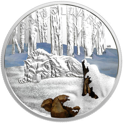 2017 $20 Glistening North: The Arctic Wolf - Pure Silver Coin