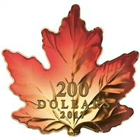 2017 $200 Autumn Fire - Pure Gold Maple Leaf-Shaped Coin