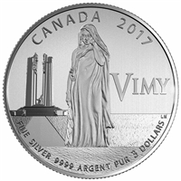 2017 $3 100th Ann. Battle of Vimy Ridge - Pure Silver coin
