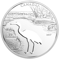 2017 $30 Endangered Animal Cutout: Whopping Crane - Pure Silver Coin