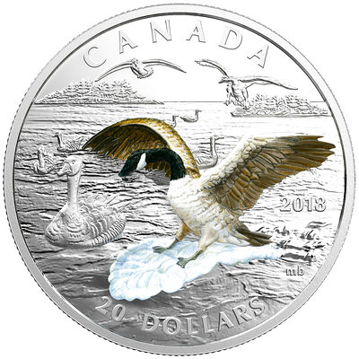 2018 $20 Approaching Canada Goose - Pure Silver Coin