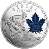 1917-2017 $20 100th Anniversary of Toronto Maple Leafs - Pure Silver Coin