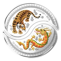 2018 $10 Yin and Yang Coins - Tiger and Dragon - Pure Silver Coin
