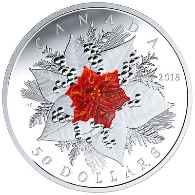 2018 $50 Murano Holiday Splendour - Pure Silver Coin