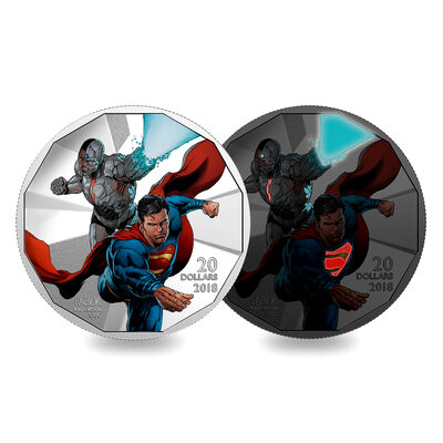2018 $20 <i>The Justice League<sup>TM</sup>: Cyborg</i> and <i>Superman</i> - Pure Silver Coin