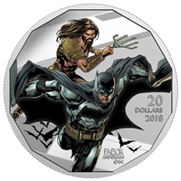 2018 $20 <i>The Justice League<sup>TM</sup>: Batman</i> and <i>Aquaman</i> - Pure Silver Coin