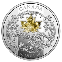 2018 $30 Falling 3D Gold Maple Leaf - Pure Silver + 18K Gold