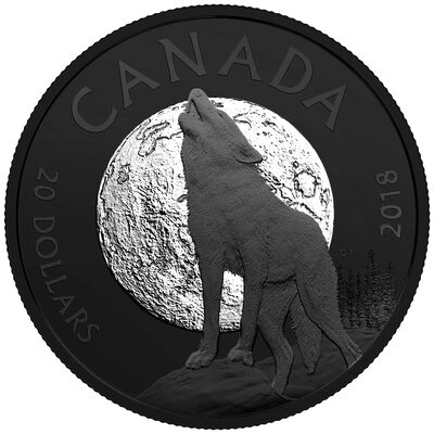 2018 $20 Nocturnal by Nature: The Howling Wolf - Pure Silver Coin