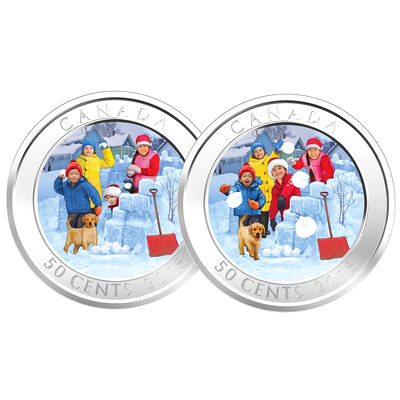 2018 50c Snowball Fight - Lenticular Coin