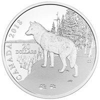 2018 $20 Nature's Impressions: Wolf - Pure Silver Coin