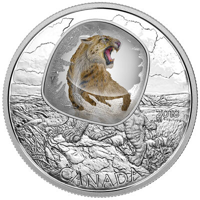 2018 $20 Frozen in Ice : Scimitar Sabretooth Cat - Pure Silver Coin