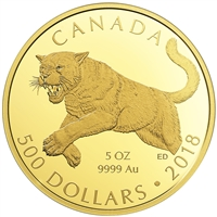 2018 $500 Predators of The Wild: The Cougar - Pure Gold Coin