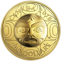 2018 $200 Ultra-High Relief Ancestor Moon Mask - Pure Gold Coin