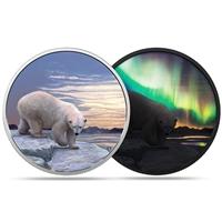 2018 $30 Arctic Animals and Northern Lights:Polar Bear - Pure Silver Coin