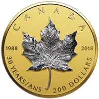 2018 $200 30th Anniversary of the Silver Mpale Leaf - Pure Gold Coin