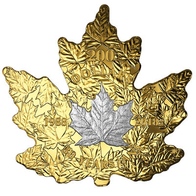 2018 $200 30th Anniversary of the Platinum Maple Leaf - Pure Gold Coin