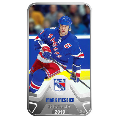 2019 $25 <i>New York Rangers</i><sup>�</sup>: Mark Messier - Pure Silver Coin