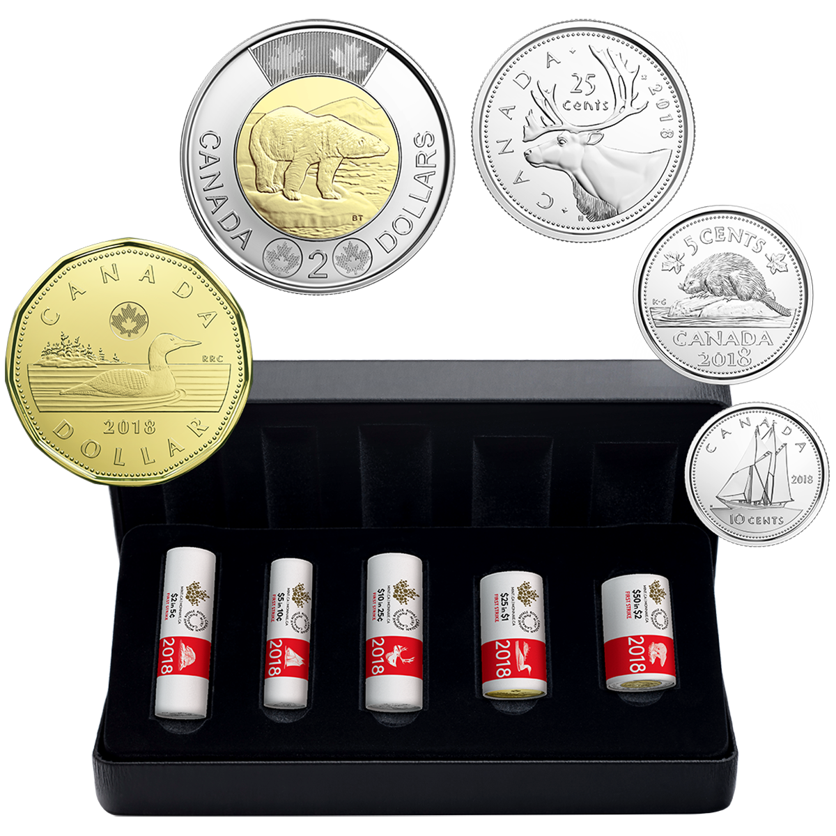 2016 CANADA 5 CENTS COMPLETE ROLL 40 COINS