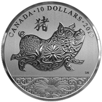 2019 $10 Lunar Year of Pig - Pure Silver Coin