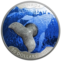 2018 $50 Whale's Tail Sculpture - Pure Silver Coin