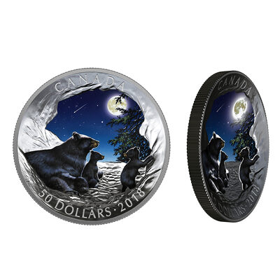 2018 $50 Nature's Light Show: Moonlit Tranquility - Pure Silver Coin
