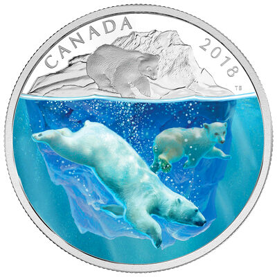 2018 $30 Dimensional Nature: Polar Bears - Pure Silver Coin