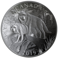 2019 $100 Nature's Grandeur: Wolves - Double Concave Pure Silver Coin