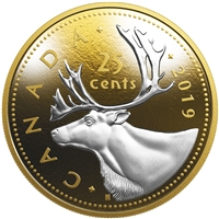 2019 25c 5-Ounce Big Coin Series: Caribou - Pure Silver Coin