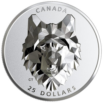 2019 $25 Multifaceted Animal Head: Wolf - Pure Silver Coin