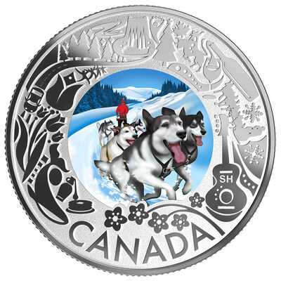 2019 $3 Celedrating Canadian Fun and Festivities: Dog Sledding - Pure Silver Coin