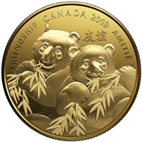 2019 $8 Pandas: A Golden Gift of Friendship - Pure Silver Coin with Gold Plating